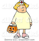 Clip Art of a Girl Wearing Halloween Nurse Costume While Trick-or-treating on Halloween Night by Djart