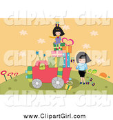 Clip Art of a Girls Loading up a Truck with Gifts on a Hill by Mayawizard101