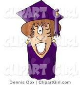 Clip Art of a Graduating Female Wearing Cap and Gown by Djart