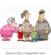 Clip Art of a Grandma and Grandpa Standing with Grandchildren and Their Pregnant Daughter by Djart