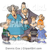 Clip Art of a Grandparent Couple Standing with Their Grandchildren by Djart