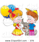 Clip Art of a Gray Puppy Playing with a Boy and Girl with Balloons by Alex Bannykh