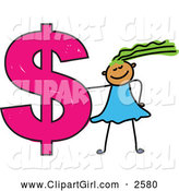 Clip Art of a Green Haired Girl and Dollar Symbol by Prawny