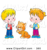 Clip Art of a Grooming Cat Between a Little Boy and Girl in a Room by Alex Bannykh