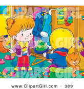 Clip Art of a Grooming Orange Cat in a Room with a Little Boy in Girl As They Go Through Their Winter Clothes and Clean up by Alex Bannykh