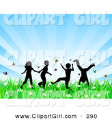Clip Art of a Group of 4 Silhouetted Children Running, Holding Hands and Doing Somersaults in a Field of Butterflies and Spring Flowers over a Bursting Blue Background by KJ Pargeter