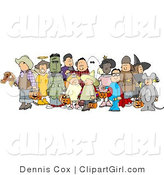 Clip Art of a Group of Adults and Children Wearing Halloween Costumes Before Trick or Treating by Djart