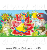 Clip Art of a Group of Animals Surrounding a Miniature Girl Emerging from a Flower by Alex Bannykh