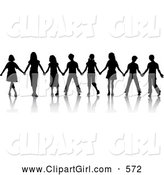 Clip Art of a Group of Black Silhouetted Boys and Girls Standing in a Line and Holding Hands While Playing the Game Red Rover by KJ Pargeter