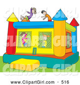 Clip Art of a Group of Boys and Girls Jumping in a Colorful Inflatable Bouncy Castle on Grass by Maria Bell