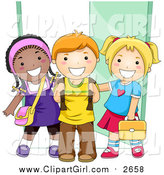 Clip Art of a Group of Diverse School Kids Standing by a Doorway by BNP Design Studio