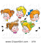 Clip Art of a Group of Five Boys and Girls in Choir, Singing, Surrounded by Music Notes by Alex Bannykh