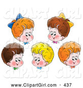 Clip Art of a Group of Five Happy Red, Blond and Brunette Haired Children by Alex Bannykh