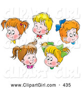 Clip Art of a Group of Happy Boys and Girls Giggling and Smiling by Alex Bannykh