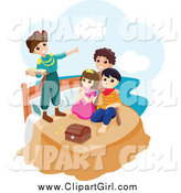 Clip Art of a Group of Happy Children Playing Peter Pan by BNP Design Studio