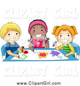 Clip Art of a Group of Happy Diverse Preschoolers Coloring by BNP Design Studio