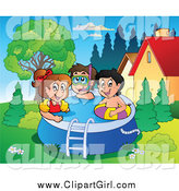 April 12nd, 2015: Clip Art of a Group of Happy Kids Playing in a Swimming Pool by Visekart