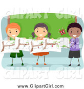 Clip Art of a Group of Happy Students Studying Butterflies by BNP Design Studio
