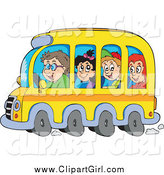 February 28th, 2015: Clip Art of a Group of Happy White School Children and Driver on a Bus by Visekart