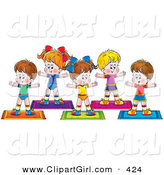 Clip Art of a Group of Healthy Children Exercising Together on Yoga Mats in a Fitness Class by Alex Bannykh