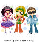 September 27th, 2015: Clip Art of a Group of Kids Dressed up in Retro Outfits by BNP Design Studio