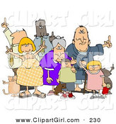 Clip Art of a Group of Mad People of All Ages and Mixed Ethnicities, Standing with Pets and Flipping People OffGroup of Mad People of All Ages and Mixed Ethnicities, Standing with Pets and Flipping People off by Djart
