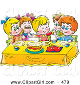 Clip Art of a Group of Smiling Children Eating Cake at a Table by Alex Bannykh