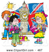 Clip Art of a Group of Smiling Children Touring London, Admiring Big Ben by Alex Bannykh
