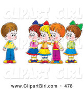 Clip Art of a Group of Smiling Children Welcoming a New Friend by Alex Bannykh