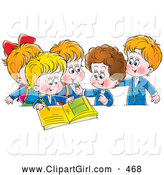Clip Art of a Group of Smiling School Children Signing a Photo Album by Alex Bannykh