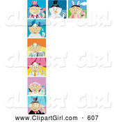 Clip Art of a Group of Ten Holiday and Occupation Scenes of Latin American Boys and Girls by Dennis Holmes Designs