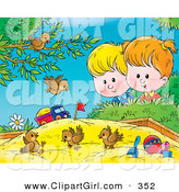 Clip Art of a Group of Three Birds Playing in a Sand Box, a Boy and Girl Watching by Alex Bannykh