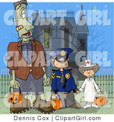 Clip Art of a Halloween Dad Dressed As Frankenstein, with His Kids As a Detective and a Doctor Standing in Front of a Spooky House by Djart