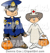 Clip Art of a Halloween Police Officer and Doctor Trick or Treating by Djart