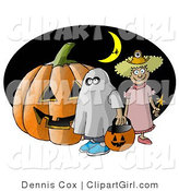 Clip Art of a Halloween Pumpkin, Two Trick-or-Treaters, and Witch Flying in Front of a Crescent Moon by Djart