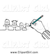 Clip Art of a Hand Drawing a Family of Stick People by NL Shop