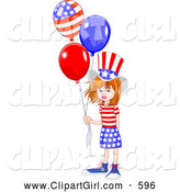Clip Art of a Happy American White Girl Wearing the Stars and Stripes, Holding Patriotic Balloons by Pushkin