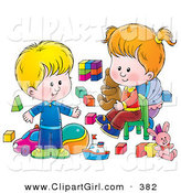 Clip Art of a Happy and Blond Little Boy and His Sister Playing with Toys in a Nursery Room by Alex Bannykh