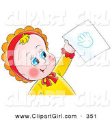 Clip Art of a Happy and Cute Blue Eyed Baby Holding up a Hand Print on a Piece of Paper by Alex Bannykh