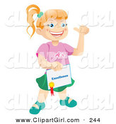Clip Art of a Happy and Proud Bright Caucasian School Girl Holding a Certificate of Excellence from Her Teacher by Vitmary Rodriguez