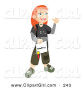 Clip Art of a Happy and Proud White Skater School Girl with Red Hair, Smiling and Holding Her Certificate of Excellence for Honor Roll by Vitmary Rodriguez
