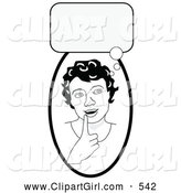 Clip Art of a Happy and Smart Girl in Thought, Touching Her Lip, a Bubble Above Her Head by C Charley-Franzwa