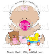 Clip Art of a Happy Baby Girl in a White Bonnet, Pink Checkered Bow and Diaper, Sucking on a Pink Pacifier and Holding Her Arms out While Playing with Toys in a Nursery by Maria Bell