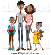 Clip Art of a Happy Black Family of Four by BNP Design Studio