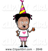 Clip Art of a Happy Black Girl Holding a Beverage at a Birthday Party by Cory Thoman