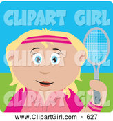 Clip Art of a Happy Blond Caucasian Girl Holding a Tennis Racket by Dennis Holmes Designs