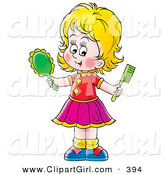 Clip Art of a Happy Blond Girl Holding a Hand Mirror and Comb by Alex Bannykh