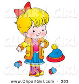 Clip Art of a Happy Blond Girl in a Coat, Standing by Mittens and a Hat by Alex Bannykh