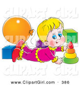 Clip Art of a Happy Blond Girl Laying on Her Belly and Playing with Toys in a Nursery by Alex Bannykh
