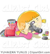 Clip Art of a Happy Blond Girl with a Camera Photographing a Butterfly over a Rock by YUHAIZAN YUNUS